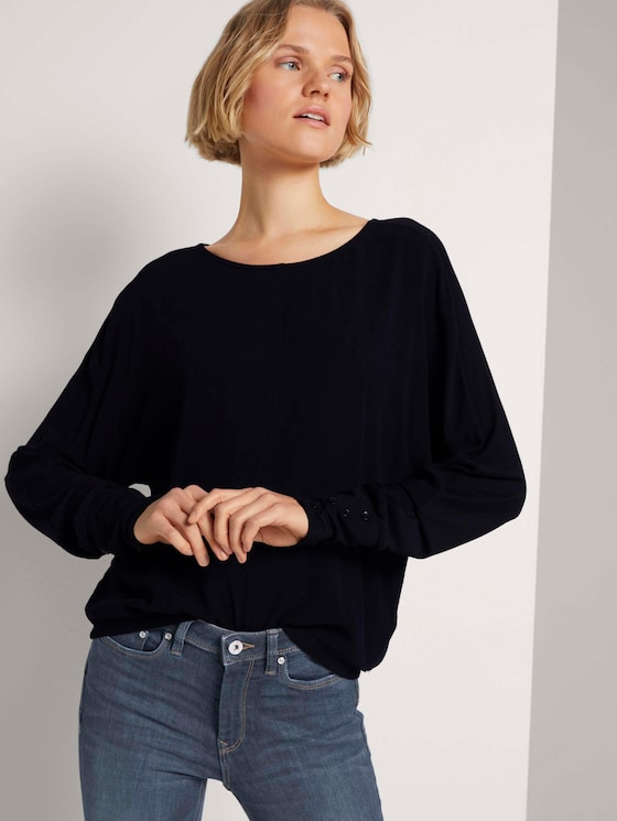 Jersey Langarmshirt mit Knopffetail - Frauen - Deep Black - 5 - TOM TAILOR Denim