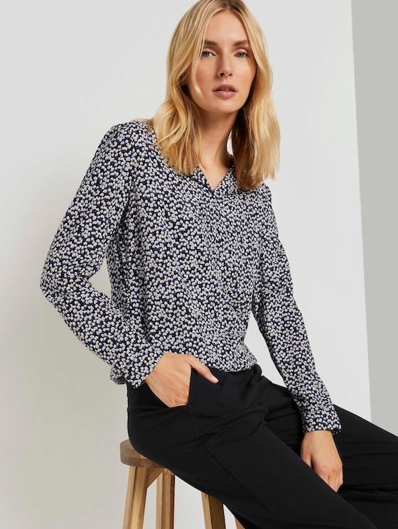 Gemusterte Bluse mit Umlegekragen - Frauen - black tree design - 5 - TOM TAILOR