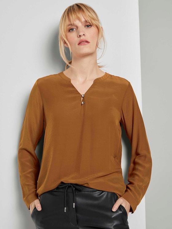 Basic Bluse mit Knopfdetails - Frauen - tawny brown - 5 - TOM TAILOR