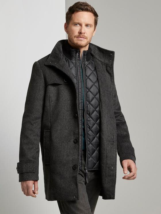 Stehkragen Mantel aus Wollmischung - Männer - dark grey mini structure - 5 - TOM TAILOR