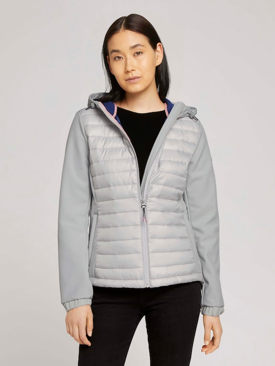 Softshell quilted jacket with a hood - Women - Dusty Putty Grey - 5 - TOM TAILOR