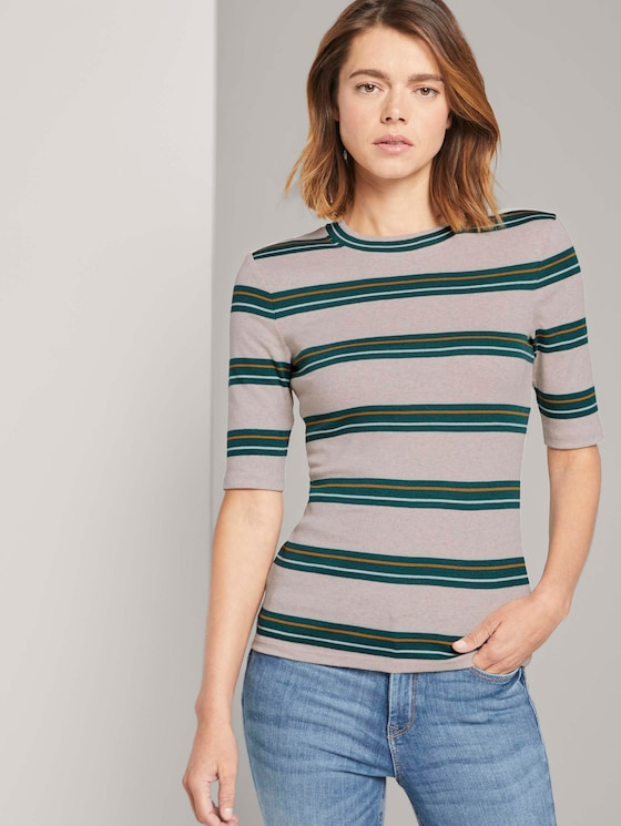 Bunt gestreiftes T-Shirt - Frauen - beige green stripe - 5 - TOM TAILOR Denim