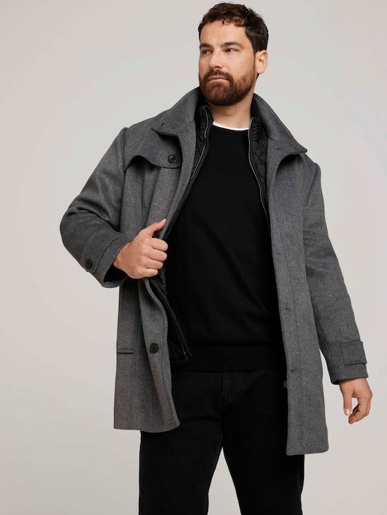 Mantel mit Steppjacken-Einsatz - Männer - Mid Grey Wool Jacket Structure - 5 - Men Plus