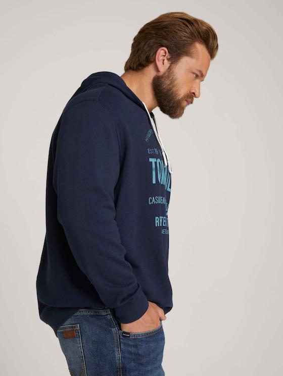 Hoodie mit Logo Print - Männer - Real Navy Blue - 5 - Men Plus