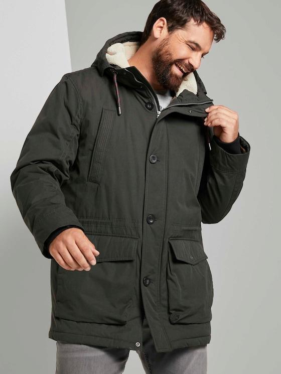 Winter parka met gevoerde hoodie - Mannen - Shadow Olive - 5 - Men Plus