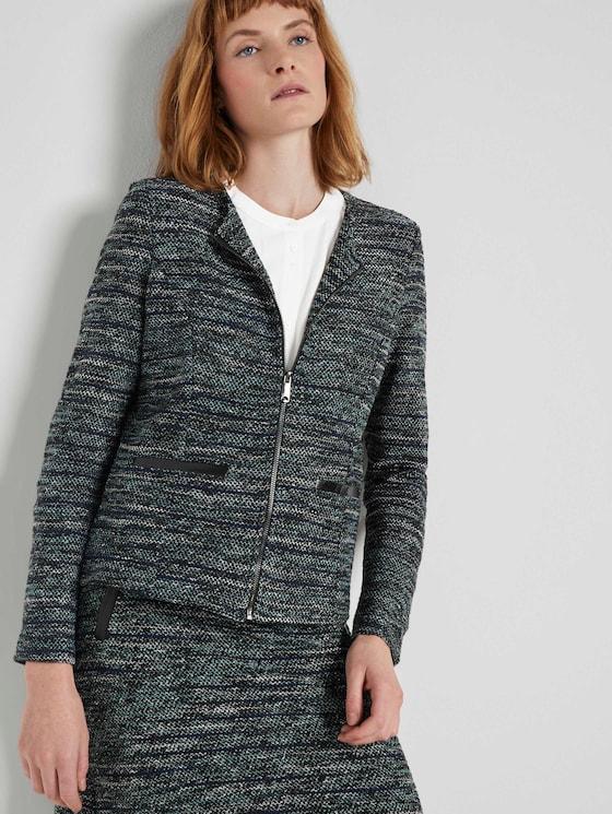 Boucle Zip Blazer - Vrouwen - mint black white boucle design - 5 - TOM TAILOR