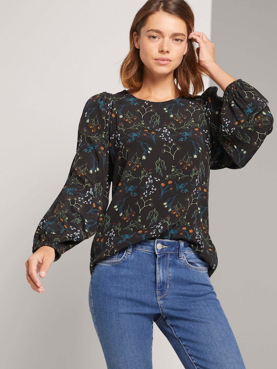 Gemusterte Bluse mit Ballonärmeln - Frauen - black flower print - 5 - TOM TAILOR Denim