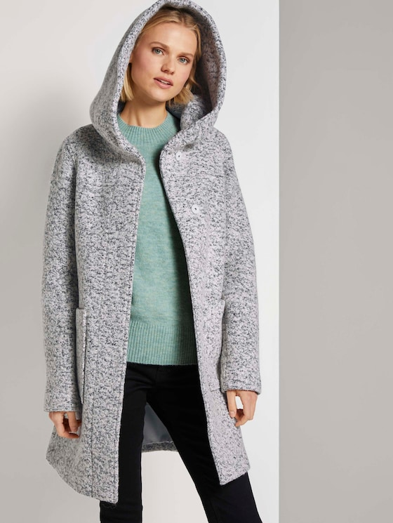Bouclé-Mantel mit breitem Kapuzenkragen  - Frauen - grey black boucle - 5 - TOM TAILOR Denim