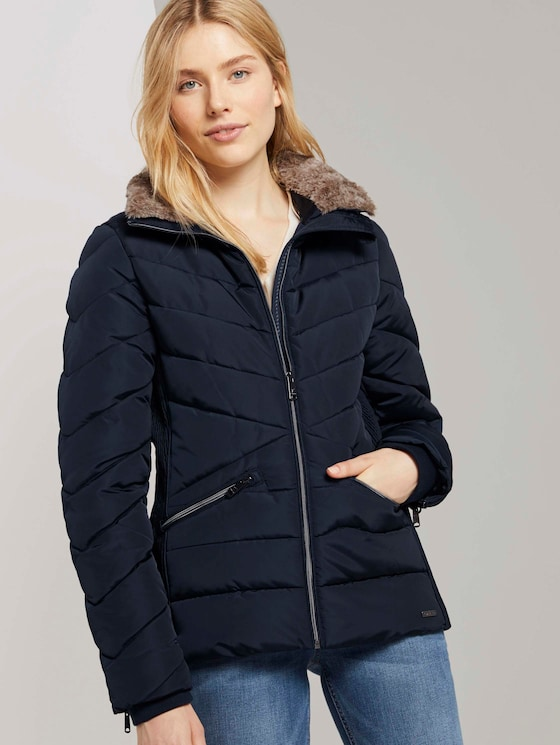 Pufferjacke mit abnehmbarem Fellkragen - Frauen - Sky Captain Blue - 5 - TOM TAILOR