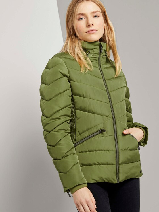 Pufferjacke mit abnehmbarem Fellkragen - Frauen - wood green - 5 - TOM TAILOR