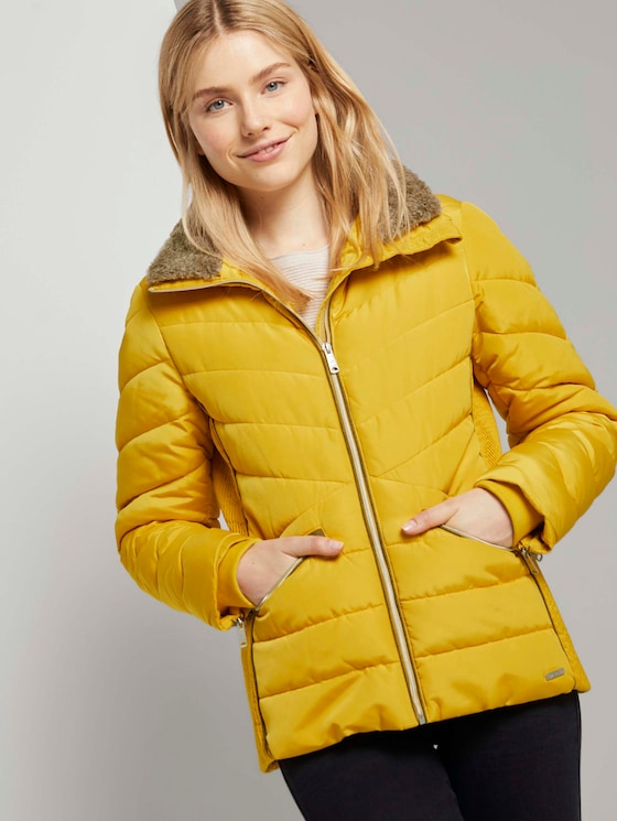 Pufferjacke mit abnehmbarem Fellkragen - Frauen - california sand yellow - 5 - TOM TAILOR