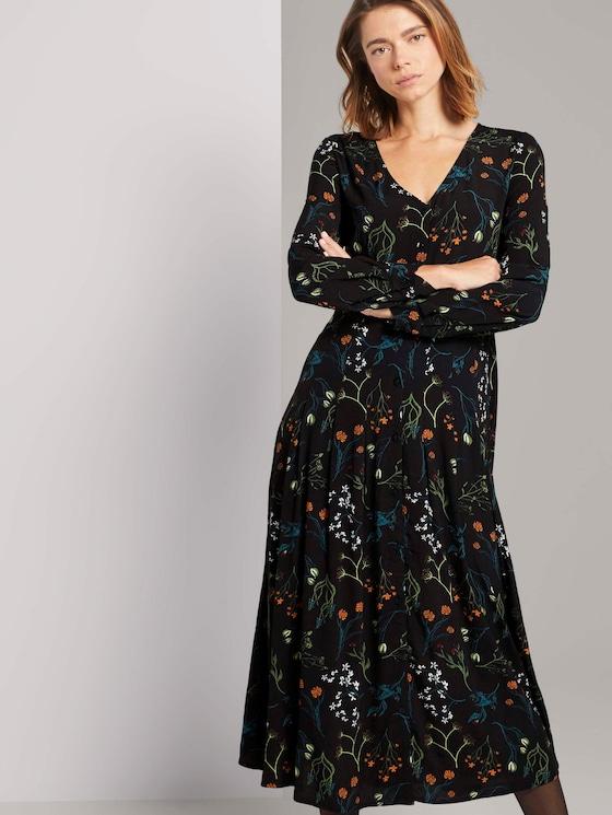 Midi Blouse Jurk met patroon - Vrouwen - black flower print - 5 - TOM TAILOR Denim