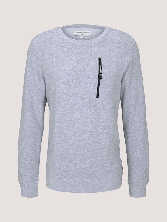 Sweatshirt mit Reißverschluss - Männer - Light Stone Grey Melange - 7 - TOM TAILOR Denim