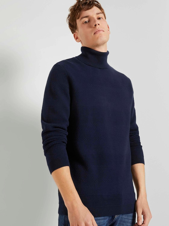 Gestreepte trui met coltrui - Mannen - Sky Captain Blue - 5 - TOM TAILOR Denim