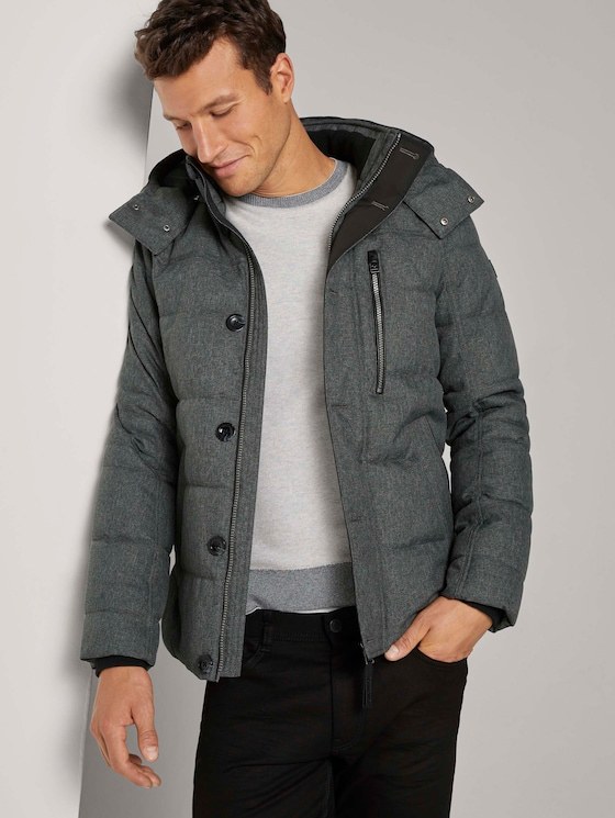 Pufferjacke mit abnehmbarer Kaupze - Männer - mid grey structure - 5 - TOM TAILOR