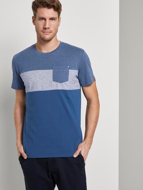 T-Shirt mit Streifenmuster - Männer - after dark blue - 5 - TOM TAILOR