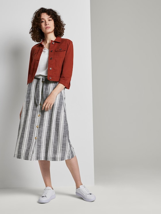 Striped midi skirt with a button tab - Women - stripe vertical navy offwhite - 3 - TOM TAILOR