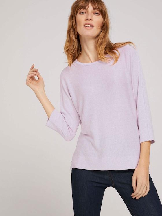 3/4 Arm Shirt mit LENZING™ ECOVERO™ - Frauen - heather lilac melange - 5 - TOM TAILOR