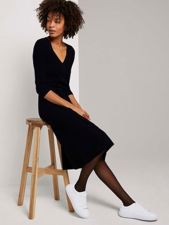 Midi gebreide jurk met riem - Vrouwen - Deep Black - 5 - Mine to five