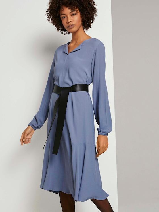 Midi Blusenkleid mit Ledergürtel - Frauen - fern blue - 5 - Mine to five