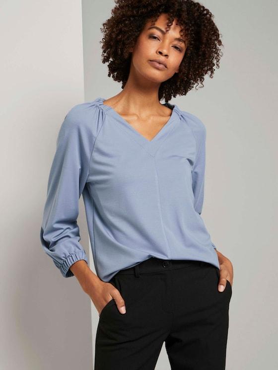 Blouse top met elastische mouwen - Vrouwen - fern blue - 5 - Mine to five
