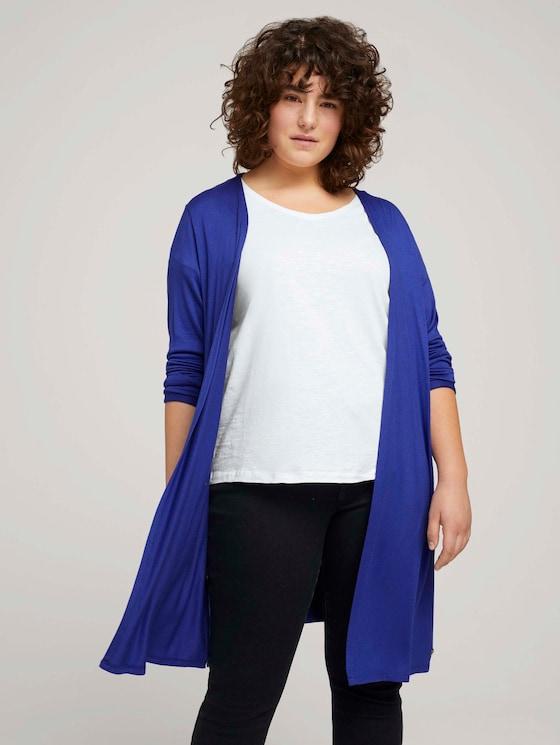 Shirt Cardigan mit Seitenschlitzen - Frauen - crest blue - 5 - My True Me