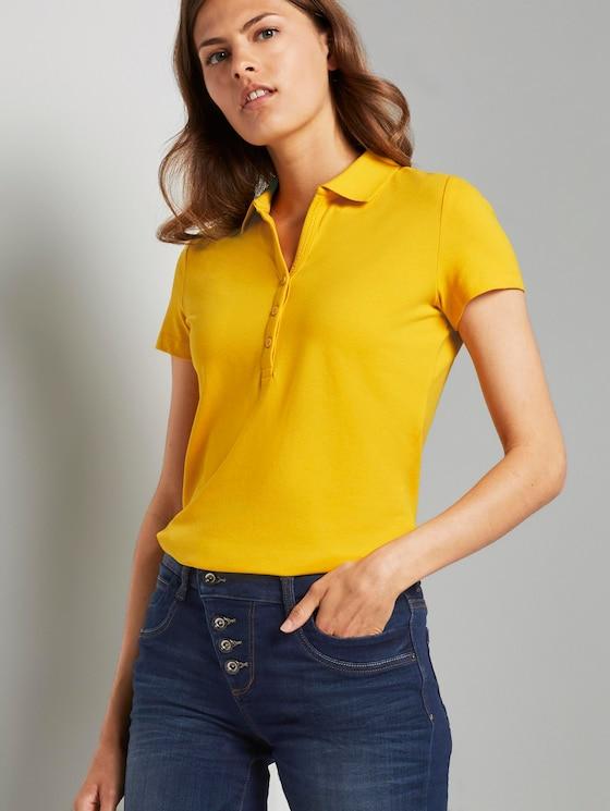 Basic polo shirt with a Henley neckline - Women - deep golden yellow - 5 - TOM TAILOR