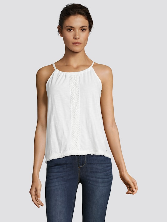 Neckholder Top mit Tasseln - Frauen - Off White - 5 - TOM TAILOR Denim