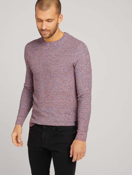 Basic knitted sweater - Men - blue orange white mouline - 5 - TOM TAILOR