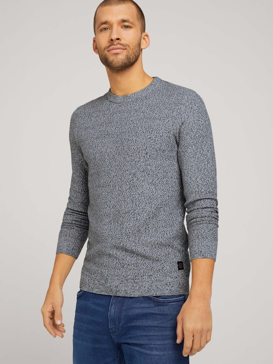 Basic knitted sweater - Men - grey anthra white mouline - 5 - TOM TAILOR