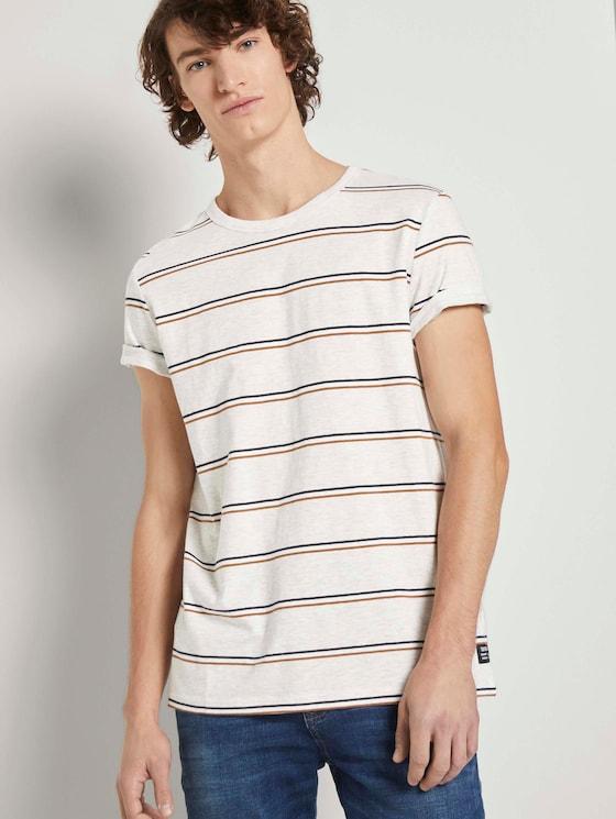 T-Shirt mit Streifenmuster - Männer - white tricolor yarn dye stripe - 5 - TOM TAILOR Denim