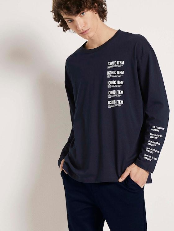 Langarmshirt mit Textprint - Männer - Sky Captain Blue - 5 - TOM TAILOR Denim