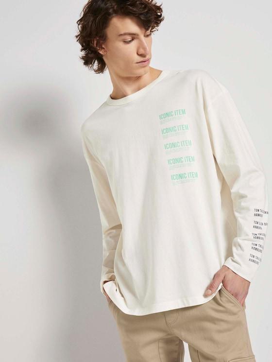 Langarmshirt mit Textprint - Männer - Wool White - 5 - TOM TAILOR Denim