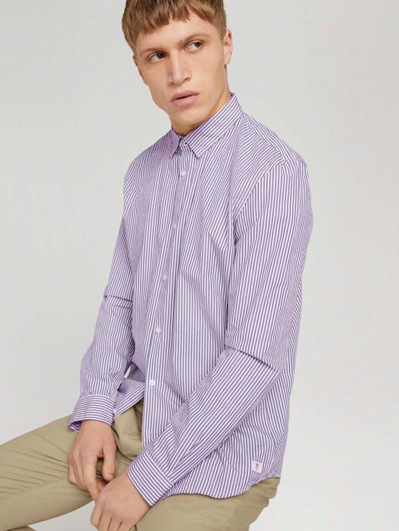 Gestreiftes Hemd - Männer - bordeaux white small stripe - 5 - TOM TAILOR Denim