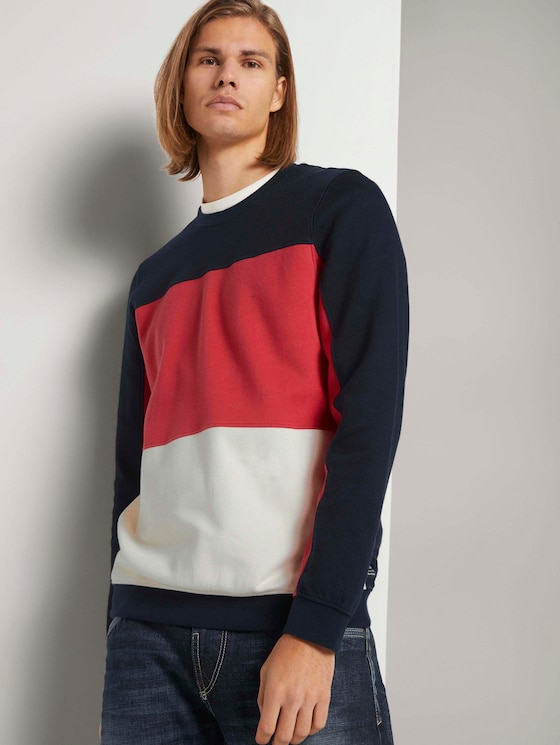 Sweatshirt im Colour Blocking - Männer - Sky Captain Blue - 5 - TOM TAILOR Denim