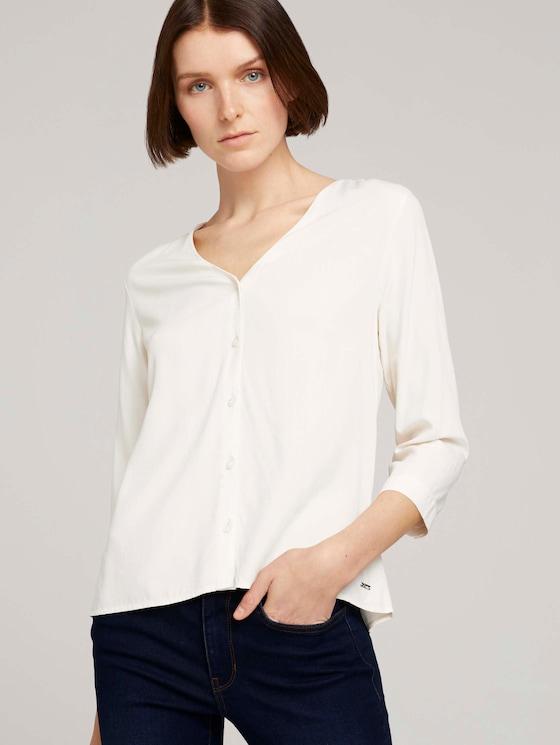 Geknöpfte Bluse mit LENZING™ ECOVERO™ - Frauen - soft creme beige - 5 - TOM TAILOR Denim