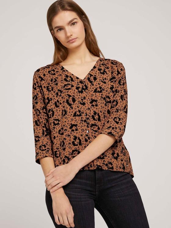 Geknöpfte Bluse mit V-Ausschnitt mit LENZING™ ECOVERO™ - Frauen - flower leo print - 5 - TOM TAILOR Denim