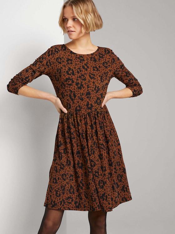 Gemustertes Jerseykleid mit Struktur - Frauen - flower leo print - 5 - TOM TAILOR Denim