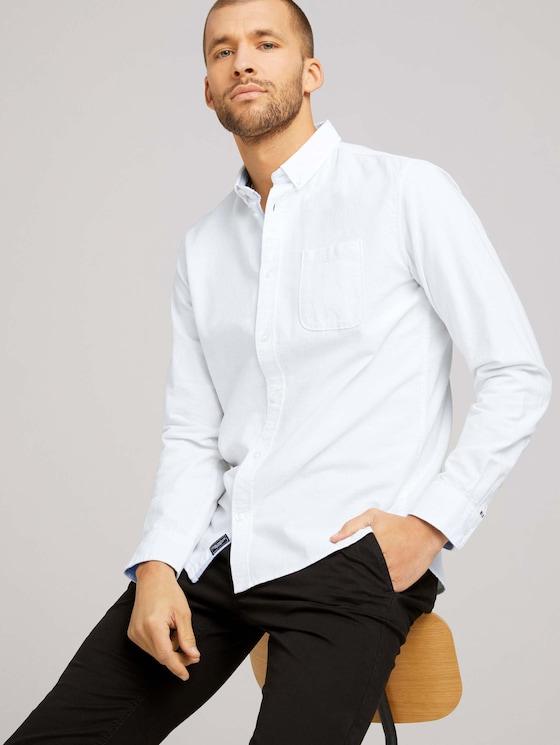 Oxford overhemd met borstzak - Mannen - White - 5 - TOM TAILOR