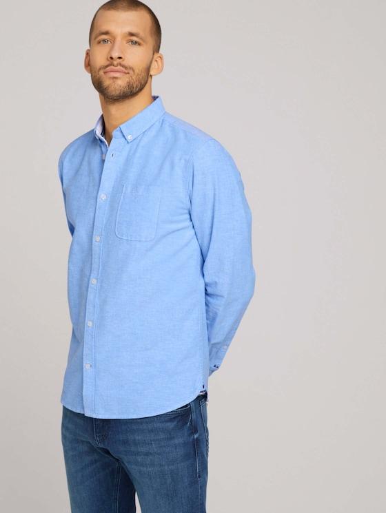 Oxford-Hemd mit Brusttasche - Männer - bright ibiza blue chambray - 5 - TOM TAILOR