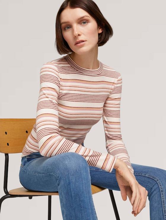 Langarmshirt mit Streifenmuster - Frauen - creme rose beige stripe - 5 - TOM TAILOR Denim