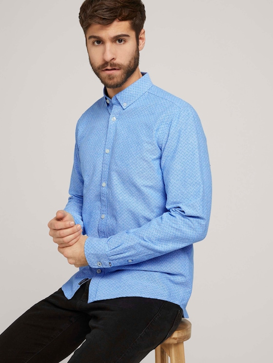 Gemustertes Oxford-Hemd - Männer - blue diagonal lines design - 5 - TOM TAILOR