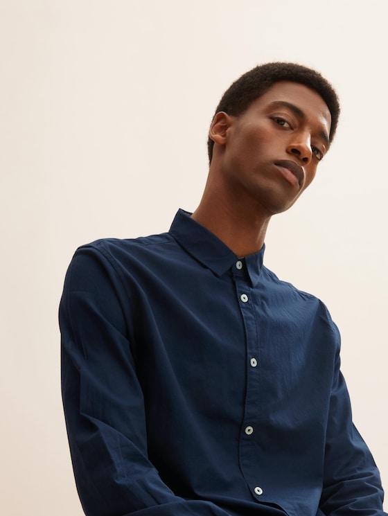 Slim Fit Hemd mit Struktur - Männer - Dark Blue - 5 - TOM TAILOR
