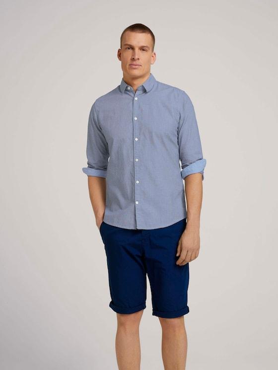 Slim fit overhemd met gestructureerde stof - Mannen - navy white structure - 5 - TOM TAILOR