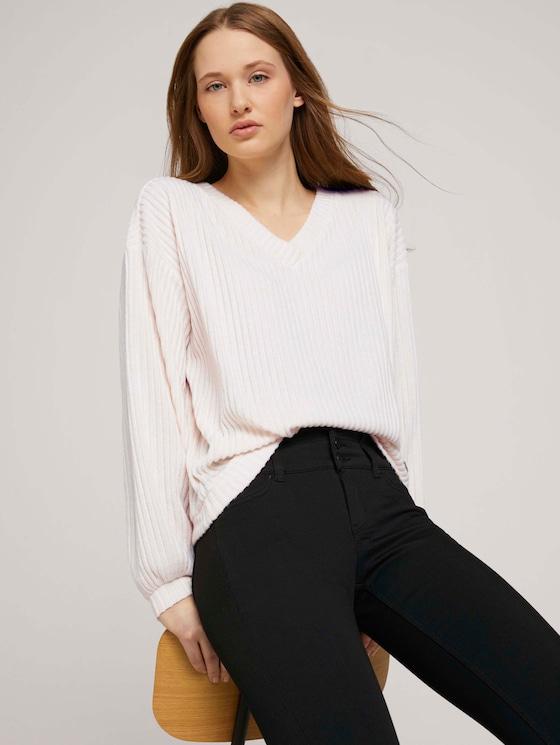 Langarmshirt mit V-Ausschnitt - Frauen - creme beige melange - 5 - TOM TAILOR Denim