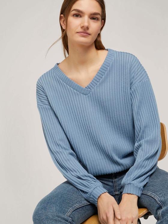 Langarmshirt mit V-Ausschnitt - Frauen - soft mid blue - 5 - TOM TAILOR Denim