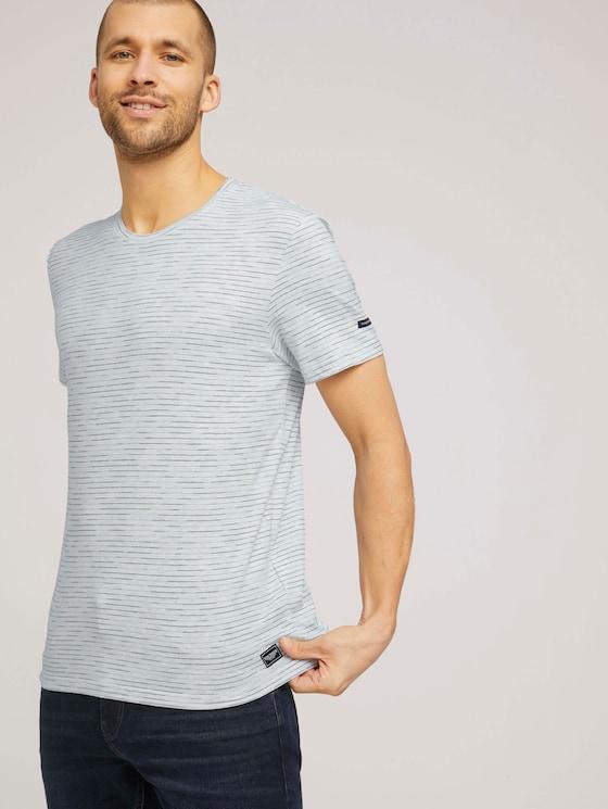 T-Shirt mit Streifenmuster - Männer - Blanc De Blanc White Melange - 5 - TOM TAILOR