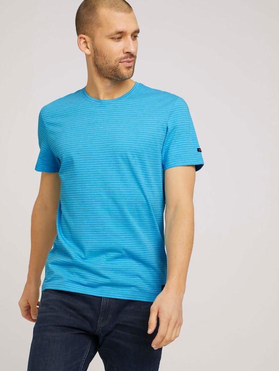 T-Shirt mit Streifenmuster - Männer - aquarius snow melange - 5 - TOM TAILOR