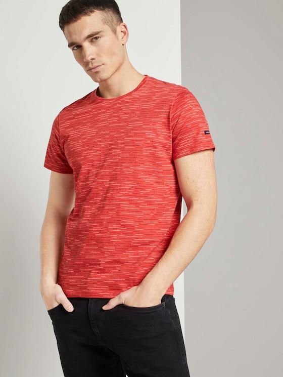 T-Shirt mit Streifenmuster - Männer - powerful red white melange - 5 - TOM TAILOR