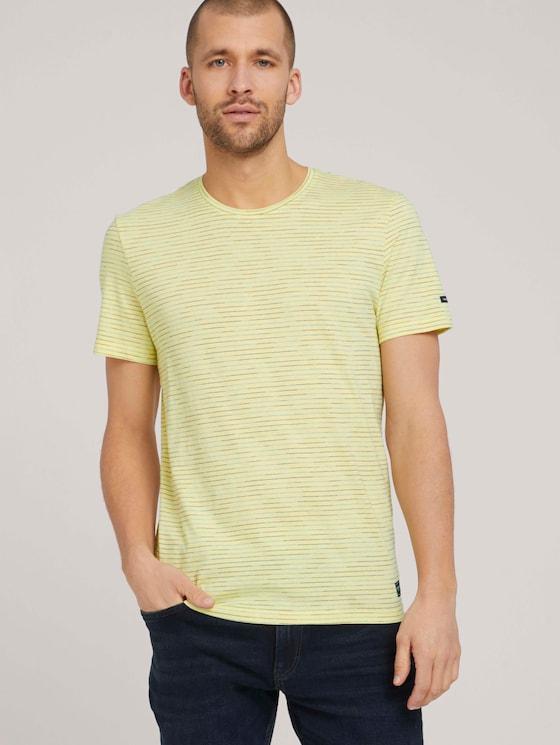 T-Shirt mit Streifenmuster - Männer - pale yellow white melange - 5 - TOM TAILOR